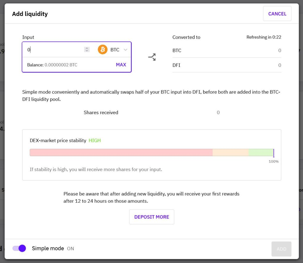 "cake defi ""add liquidity"" user interface"