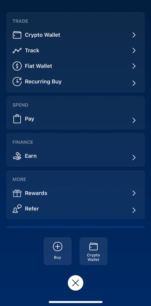 Crypto.com Main Menu