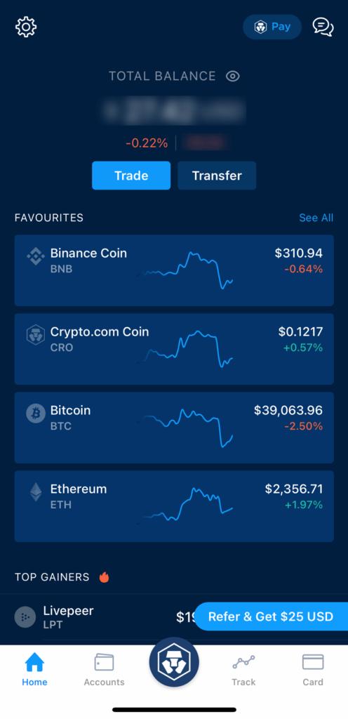 Crypto.com Dashboard