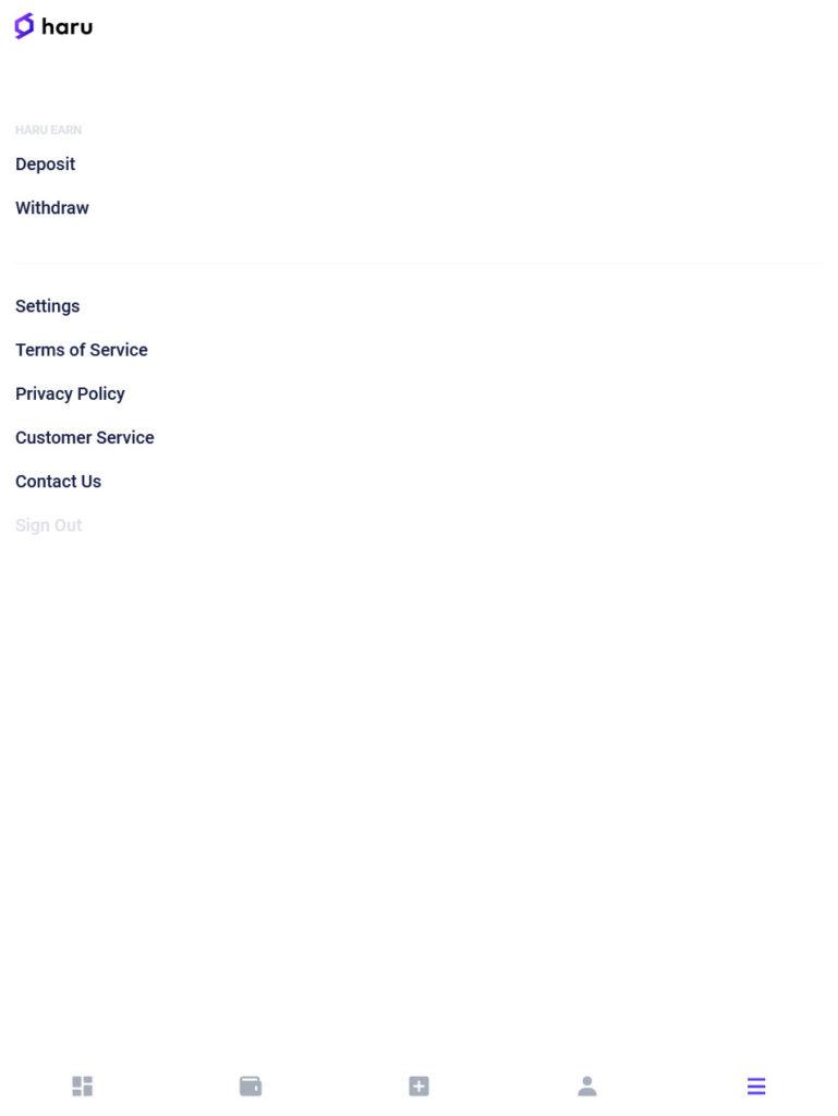 Haru app menu