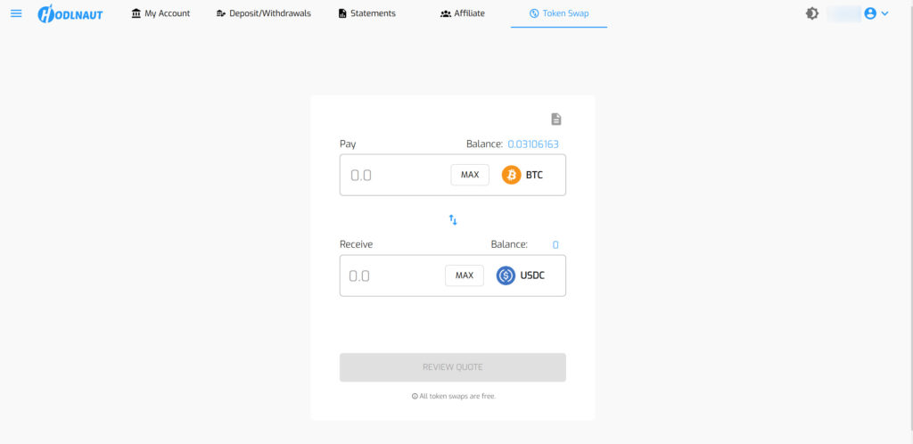 Hodlnaut coin swap UI