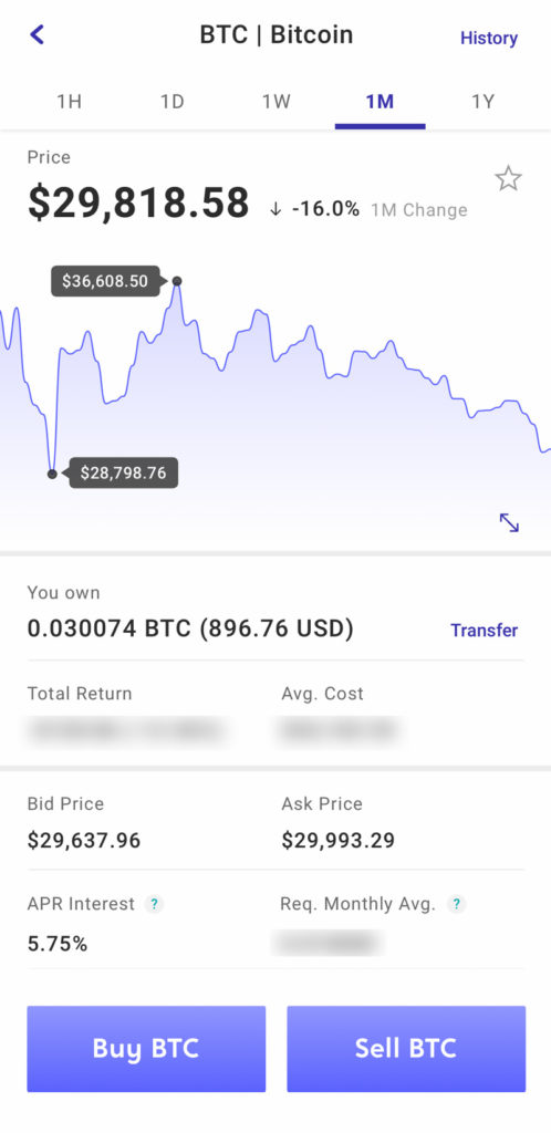 voyager app screenshot of btc coin overview page