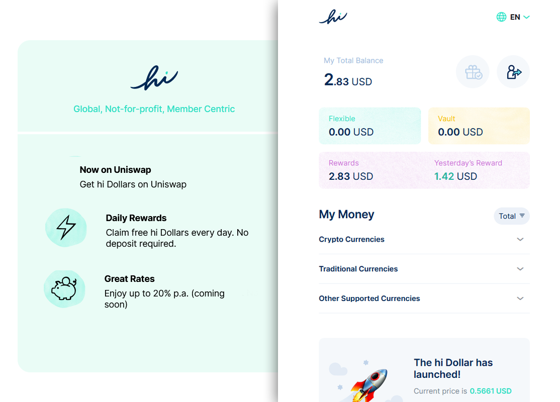 Screenshot of the hi application