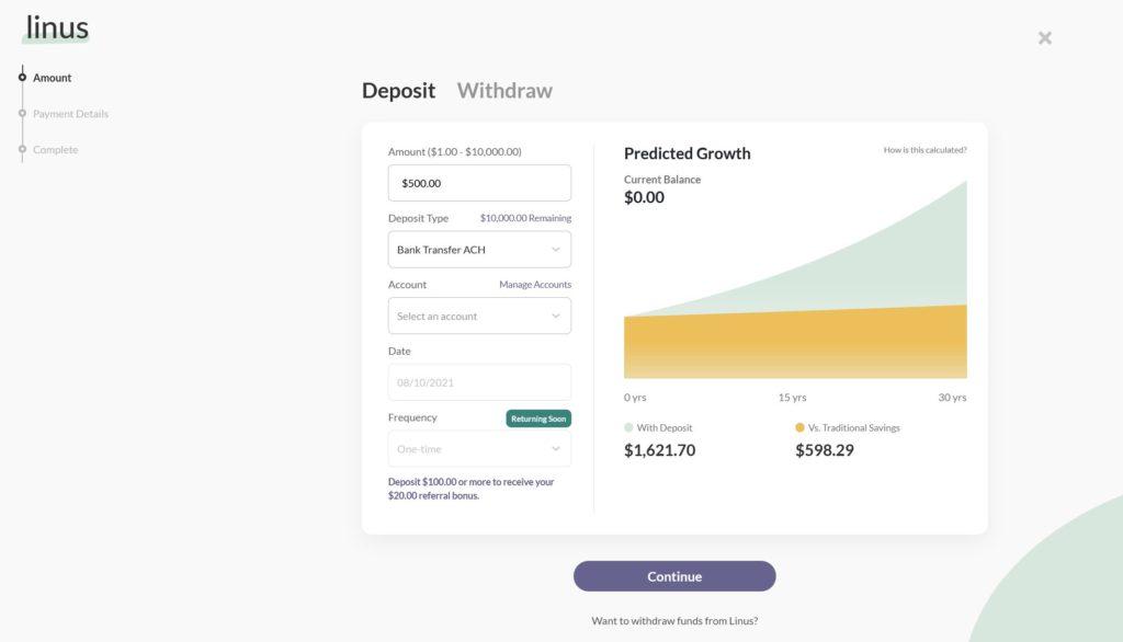 screenshot of Linus deposit user interface